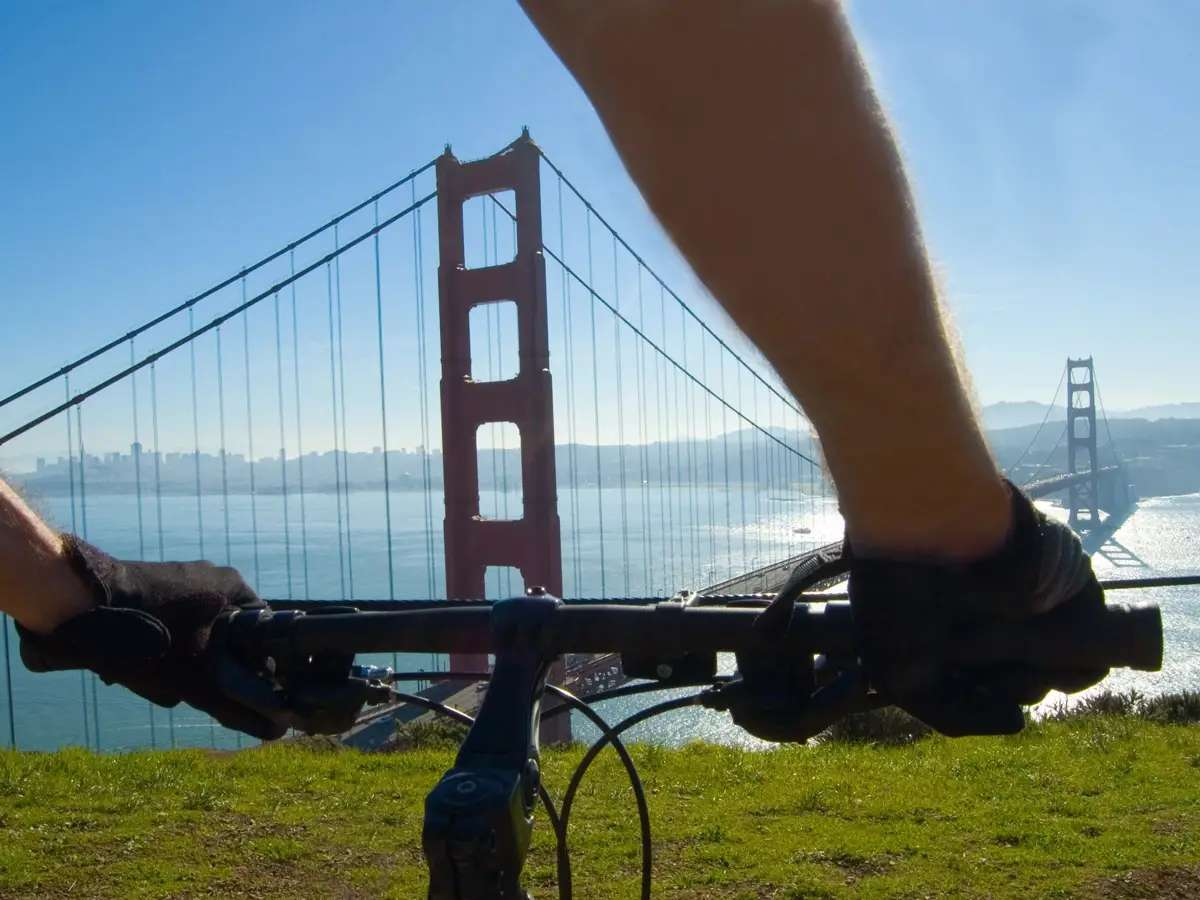 Bike across the Golden Gate Bridge in San Francisco, California.