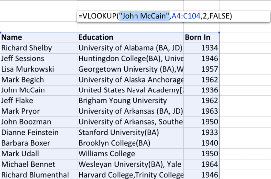 """Right now we're looking to find out what John McCain's education was from a list of 100 Senators. So, we type in """"John McCain"""" into the first term."""