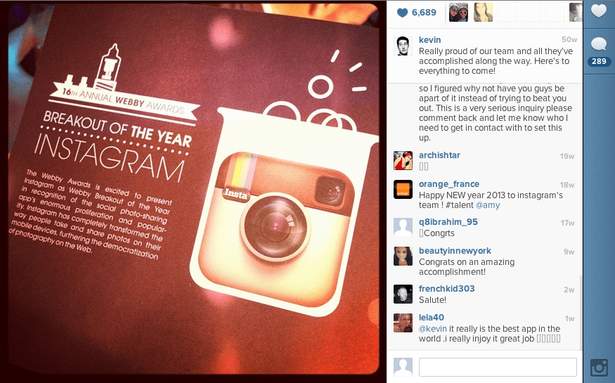 """In New York, Instagram was recognized as the """"Breakout of the Year"""" and received a Webby Award."""