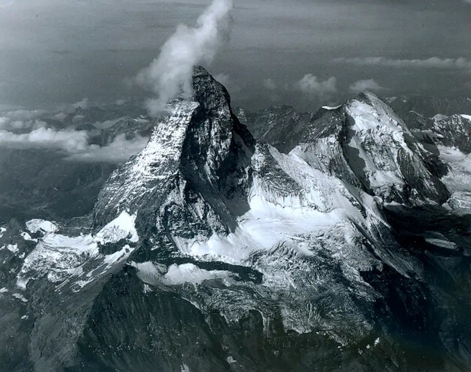 THE ALPS NOW: The Swiss peak, pictured on August 18, 2005, is eroding as a result of melting glacier water at the summit. The water sinks into cracks and creates even bigger fissures after several cycles of freezing and thawing. The disintegration of Matterhorn is anecdotal of the effects of climate change in most of the Alps.