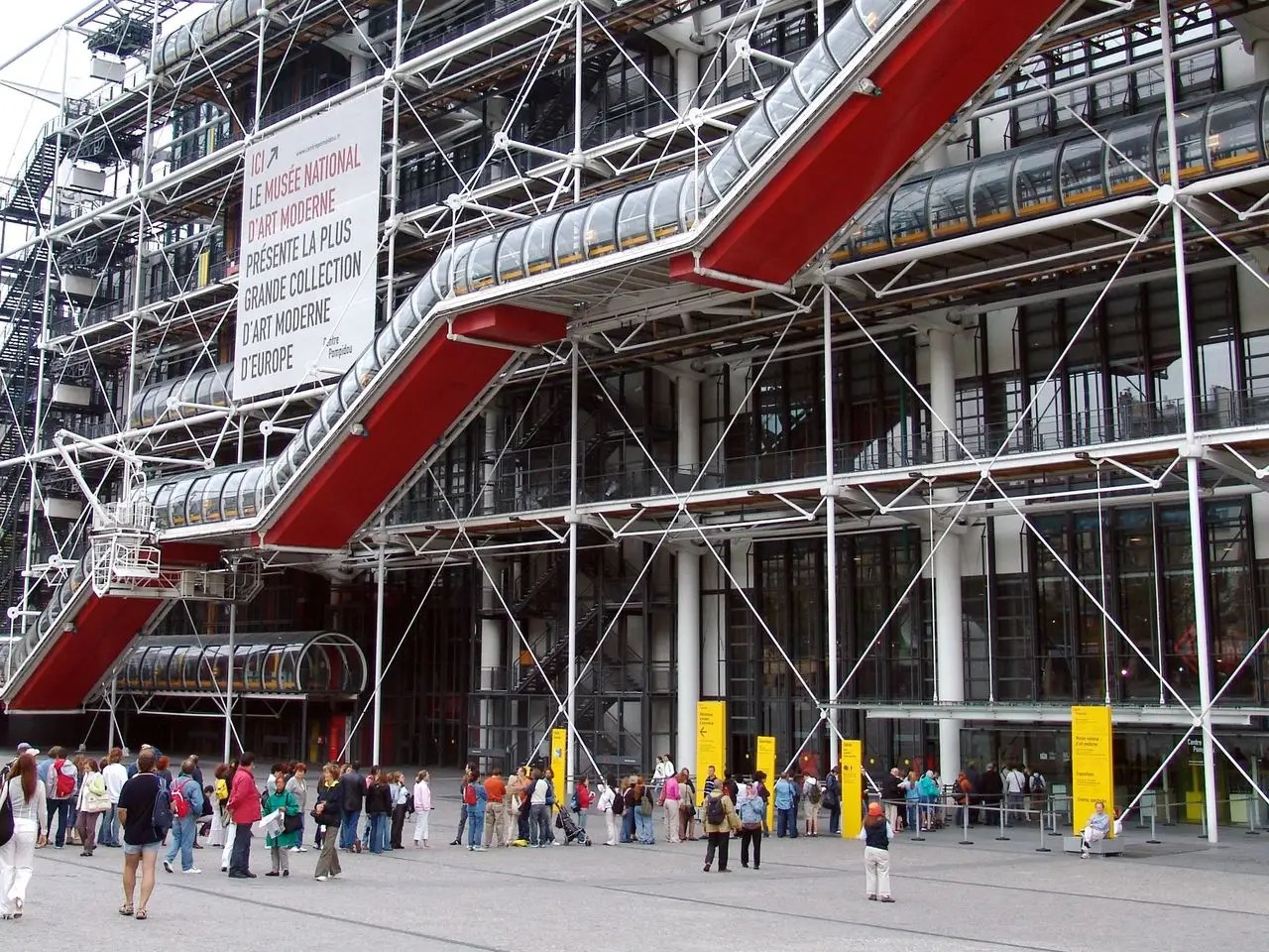 The Centre Georges Pompidou in Paris, France has all of its elevators, stairs, and pipes on the outside of the building. As a result, interior walls can be rearranged to adjust floorplans as exhibits change.