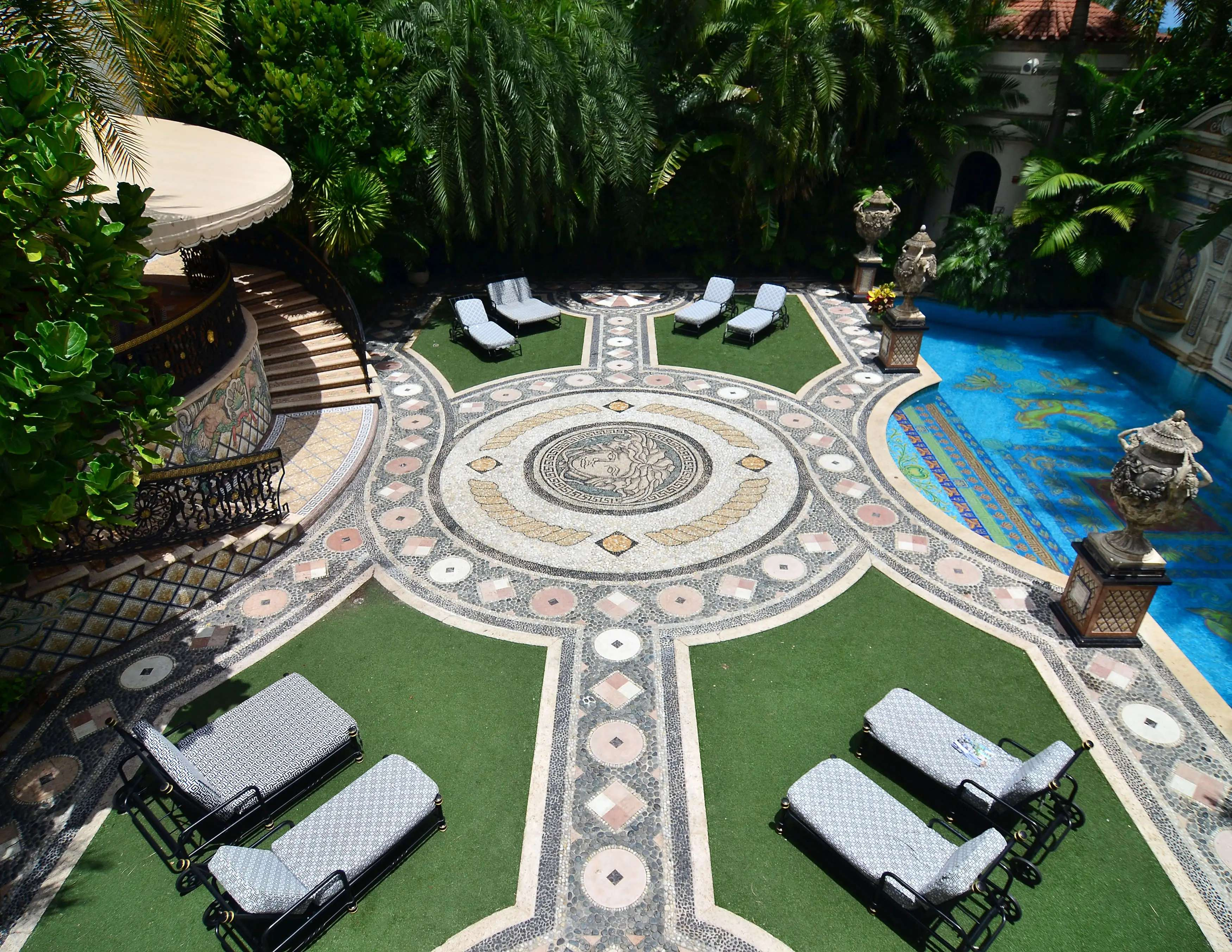 He added mosaics, a pool lined with gold, and 6,100 square feet with a new south wing.