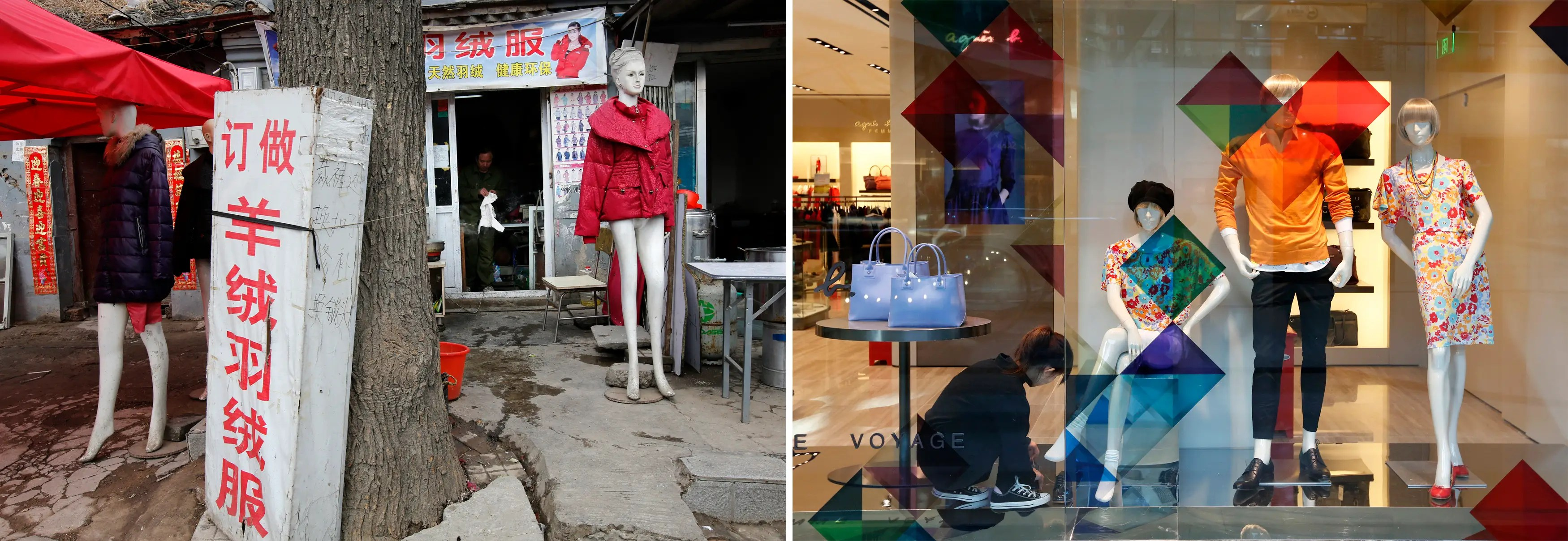 (L) Mannequins at a shop selling wool jackets at a market for migrant workers in Beijing and (R) a clerk putting a shoe on the foot of a mannequin at a luxury shopping mall in Beijing.