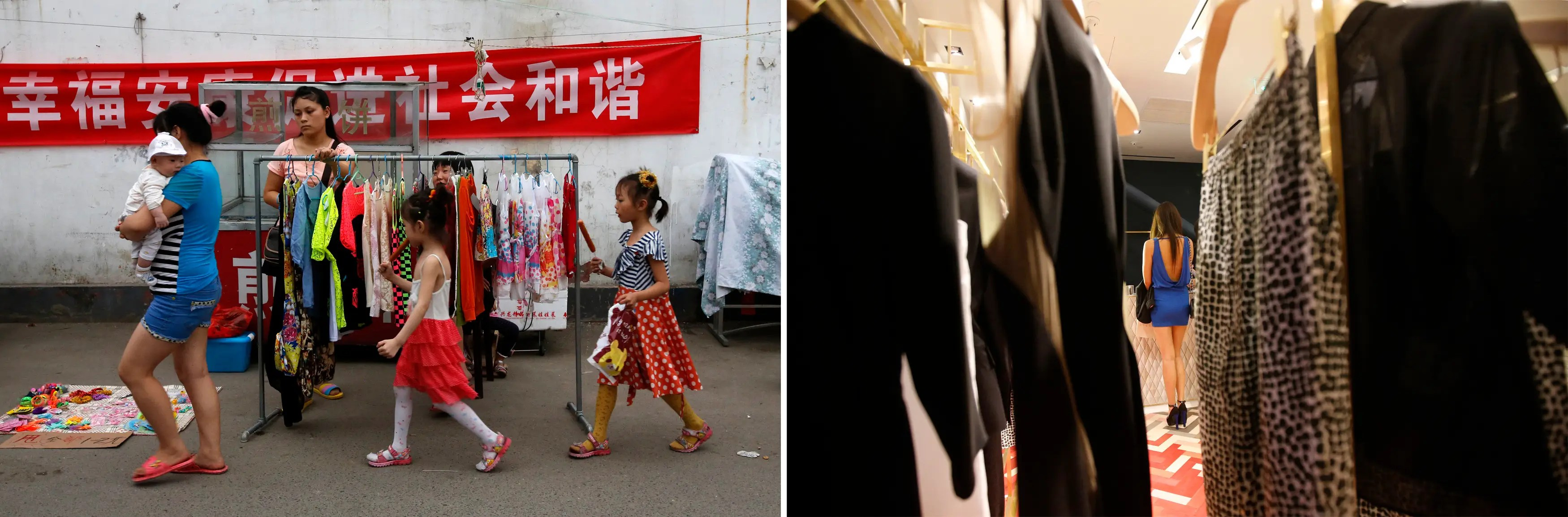 """""""(L) A family walks past a street vendor selling women's clothes in a market for migrant workers in Beijing and (R) a woman paying her bill at a foreign luxury brand's boutique in Beijing."""""""