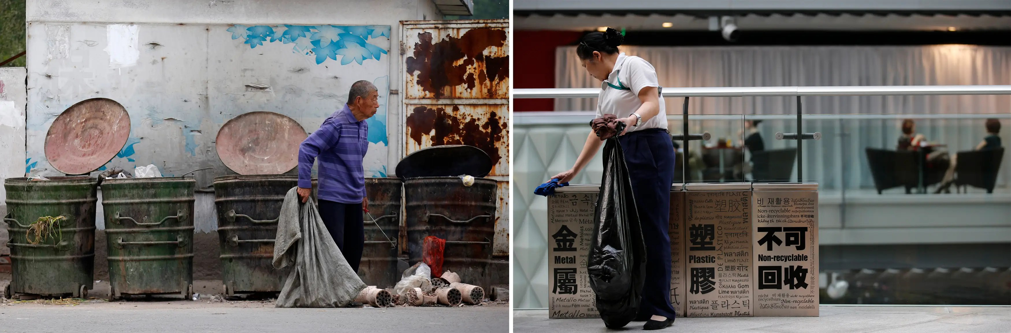 (L) A garbage collector rummages through trash cans in order to find recyclable garbage in a residential area for migrant workers and (R) a worker cleans trash cans at a shopping mall.