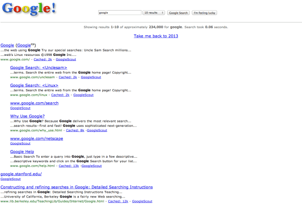 Here's What Google Looked Like The First Day It Launched ...