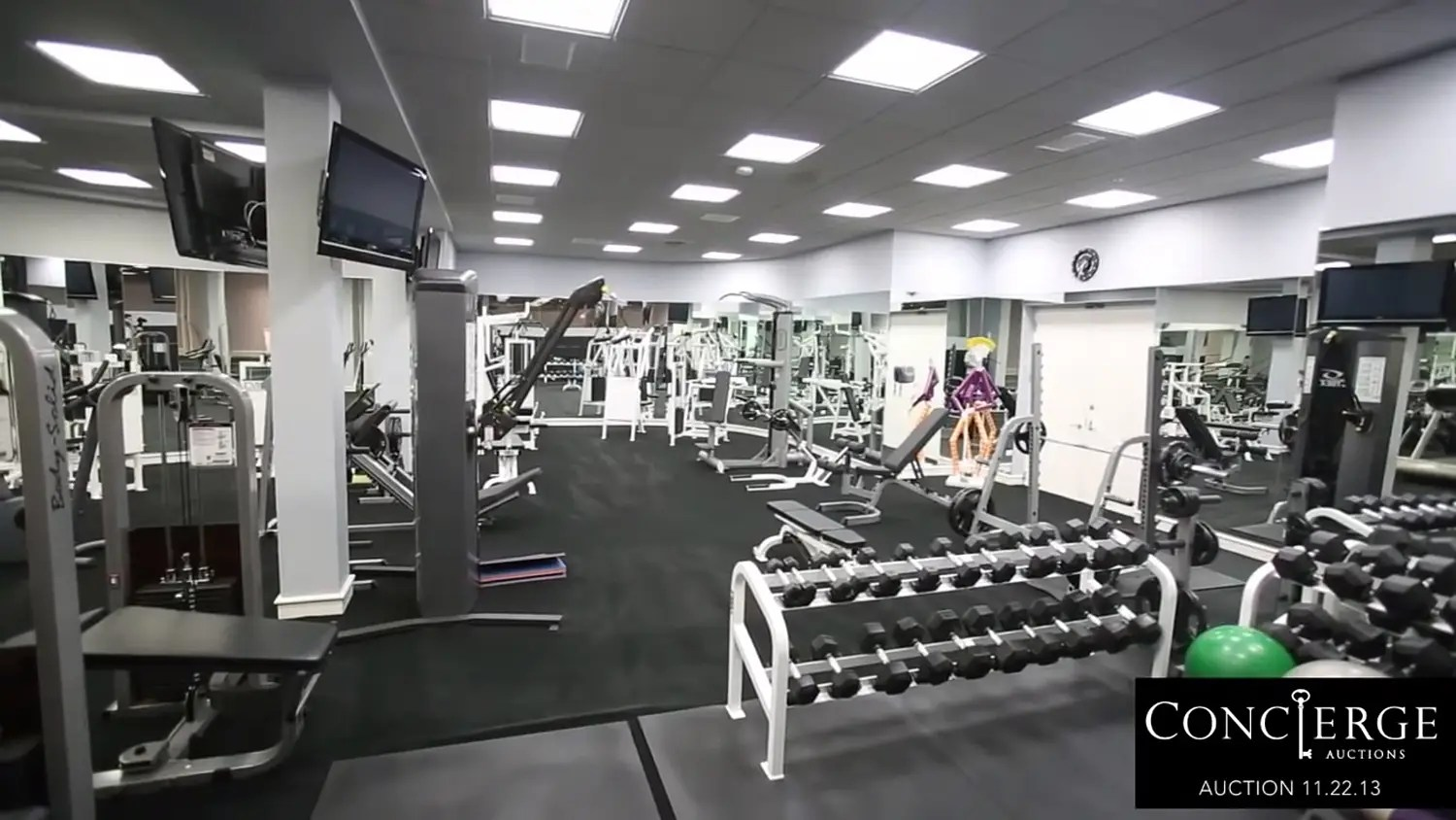 There's a full gym.
