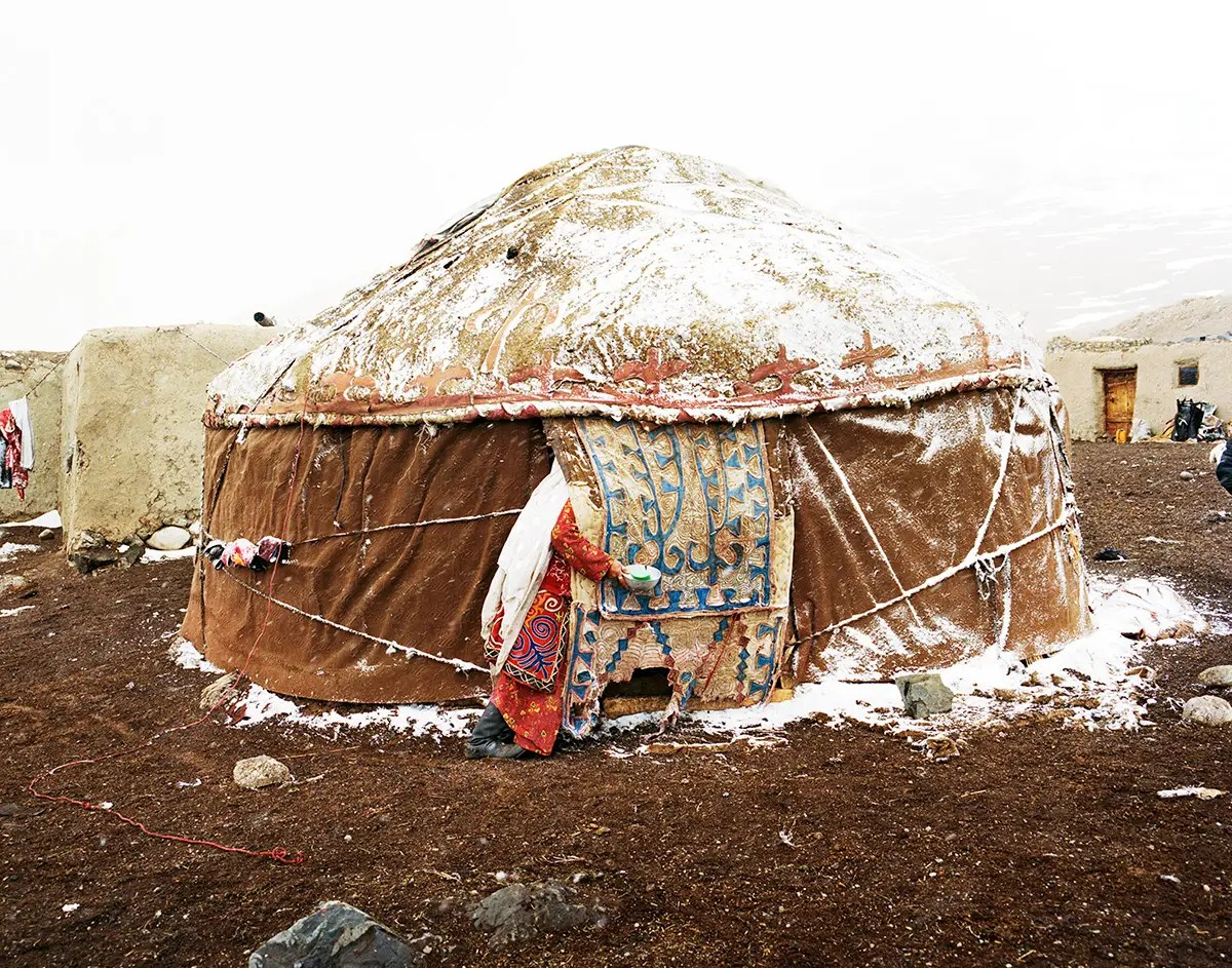 Kyrgyz live in yurts — portable houses. Made of felt and wood, they are ideal because they can be easily broken down, moved, and rebuilt.