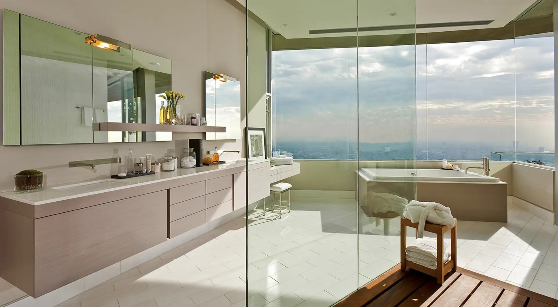 There are seven bathrooms that also take great advantage of the outside view.