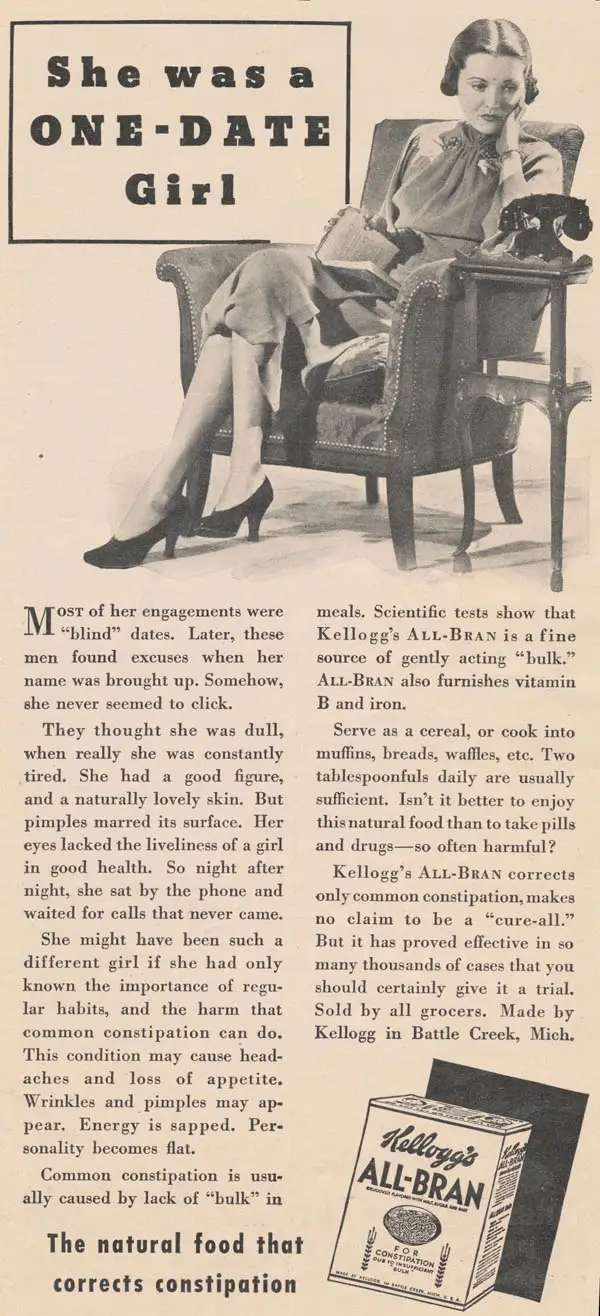 Kellogg's thinks this woman would be a major catch, if only she could stop being constipated all the time.
