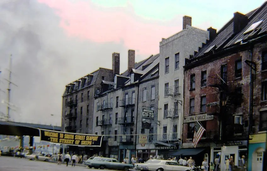 1968: South Street Seaport market — specifically Schermerhorn Row — was in rough shape before it was taken over by the South Street Seaport museum.