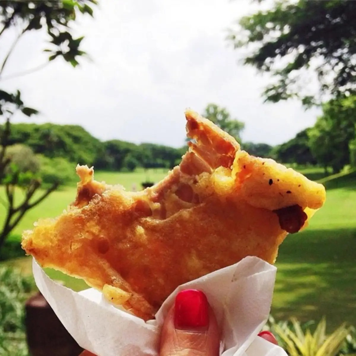 Tempeh coated in flour and turmeric then deep fried to crispiness, in Jakarta, Indonesia. I grew up having this as an after-school snack, and now tempeh remains one of my favorite food!