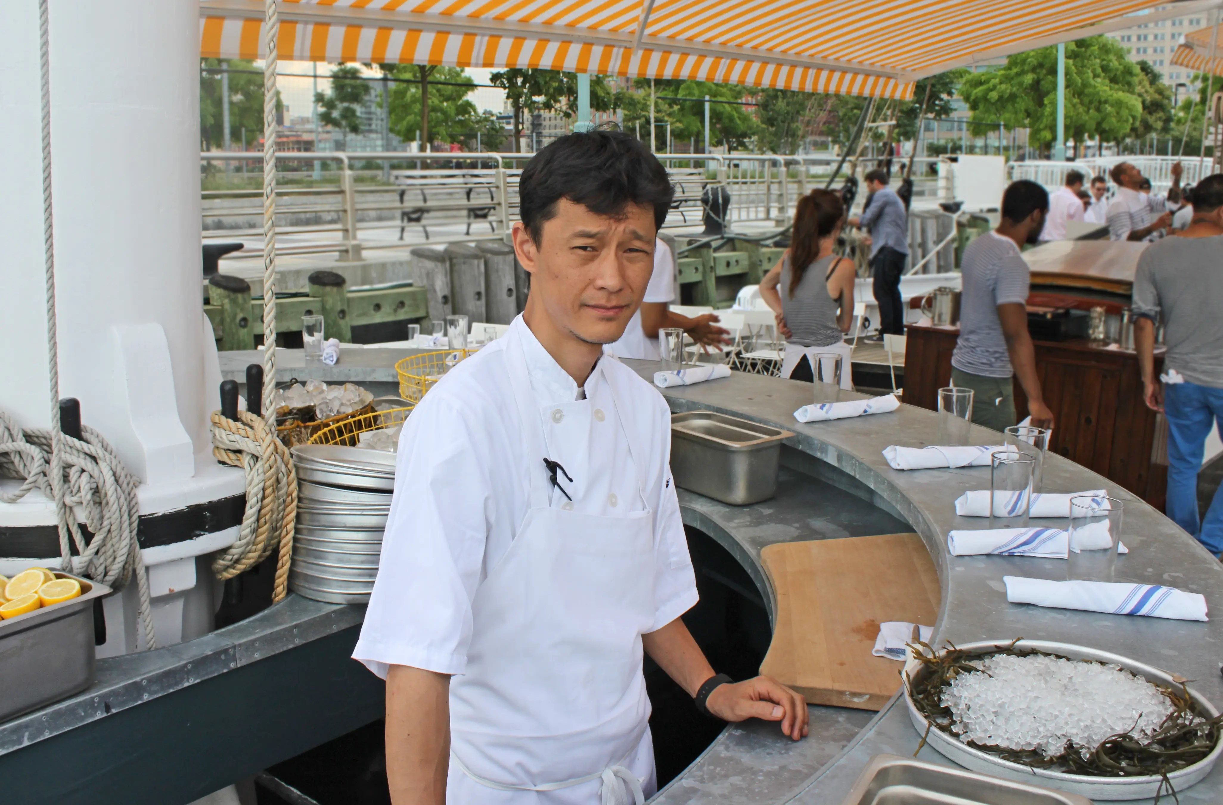 Executive Chef James Kim, who selects and prepares oysters for guests, is a master of his craft. In addition to oysters, there's a selection of small plates like fried squash blossoms and smoked crudo.