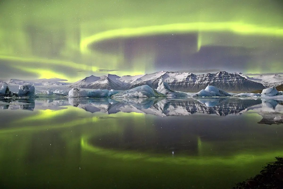 James Woodend won the 2014 Astronomy Photography of the Year competition with this photo of a vivid green aurora in Iceland's Vatnajökull National Park.