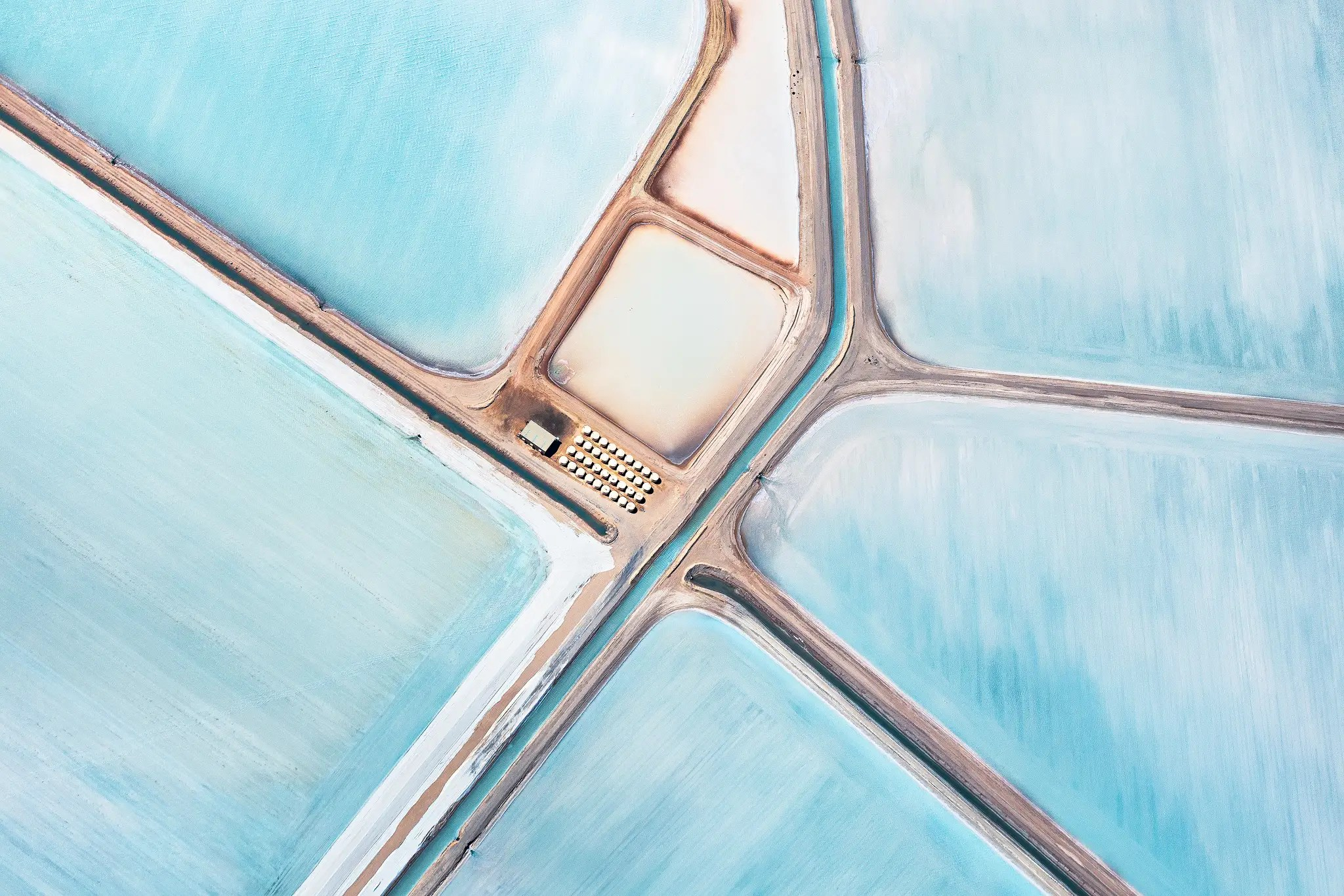 PROFESSIONAL: This photo of the Useless Loop solar salt operation in Australia was taken from a plane at 4,000 feet.
