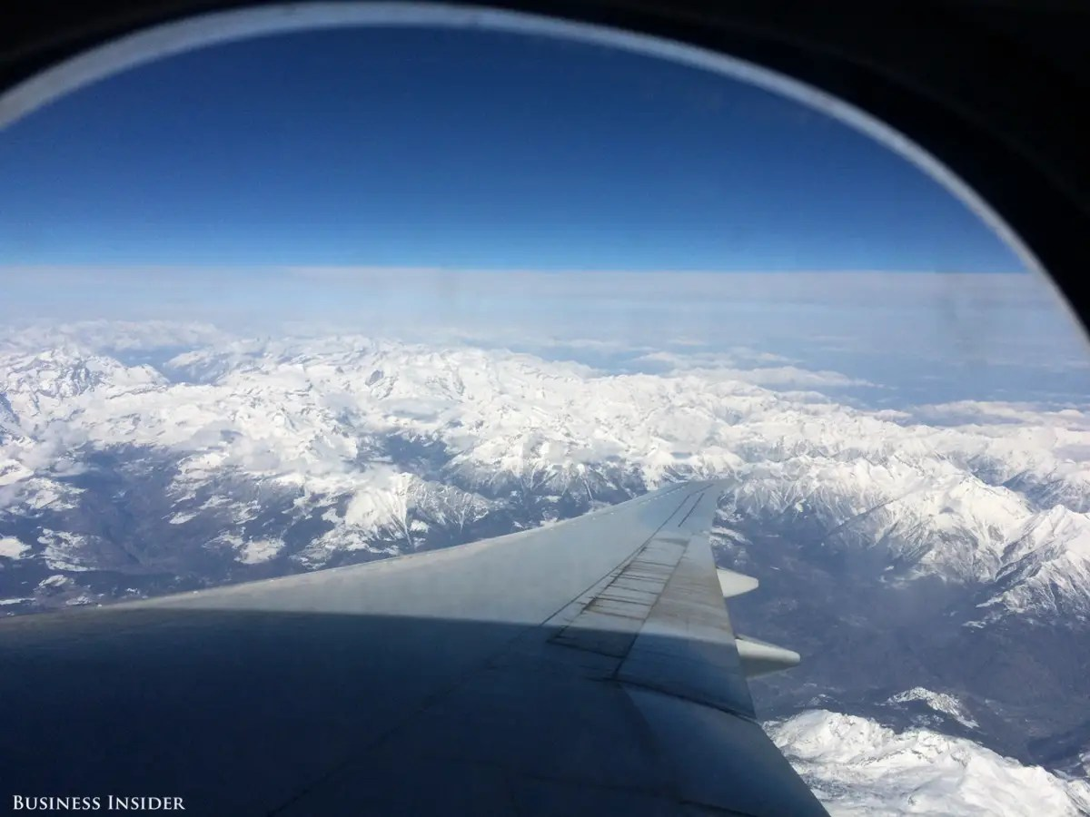 And one thing's for sure ... I lucked out with the view. That's one very large airplane wing, with the Swiss Alps in the background!