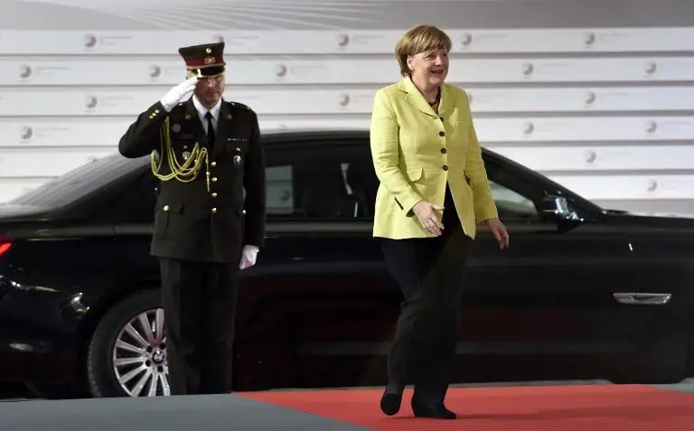 German chancellor Angela Merkel arrives for an informal dinner at the start of the fourth European Union (EU) eastern Partnership Summit in Riga, on May 21, 2015