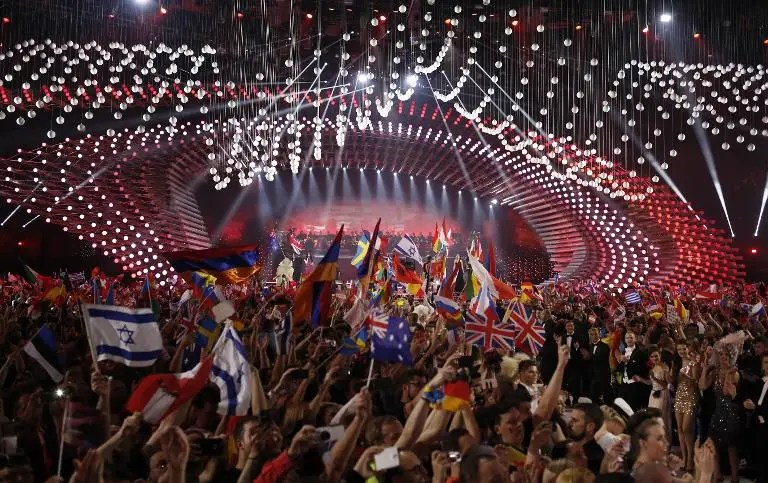 A general view of the Eurovision Song Contest final on May 23, 2015 in Vienna
