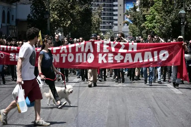A protest march to the German embassy in Athens on May 23, 2015