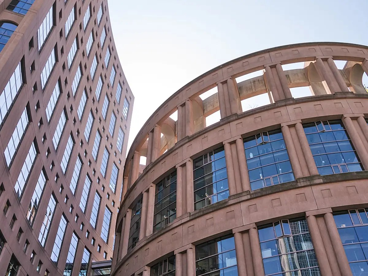 Modeled after the Colosseum, Canada's Vancouver Public Library takes up a full city block and has restaurants, retail shops, office buildings, and a rooftop garden.
