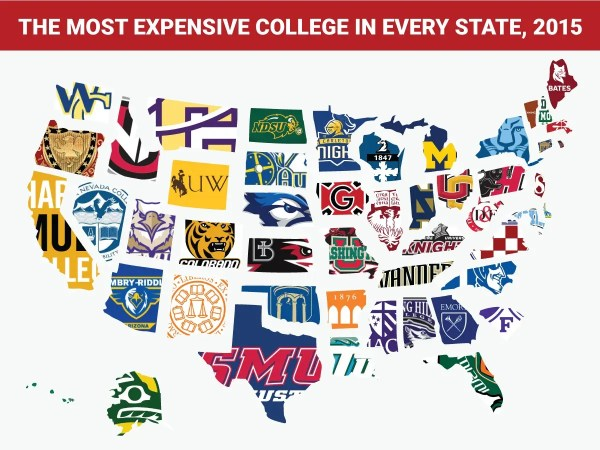 Most expensive college in every state map - Business Insider