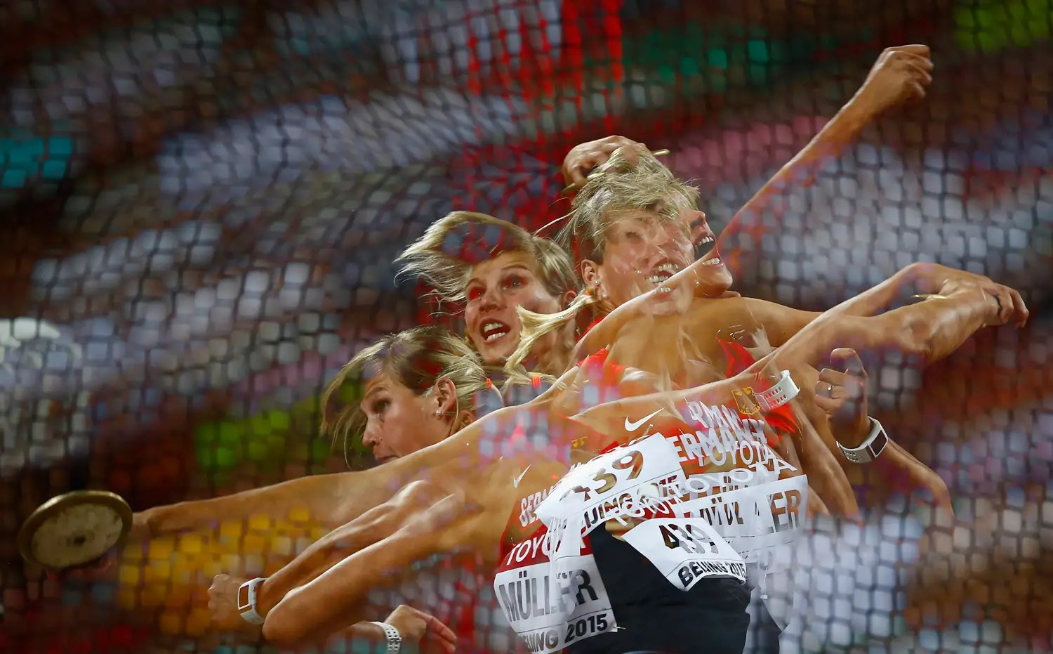 Germany's Nadine Mueller wins bronze in the discus.