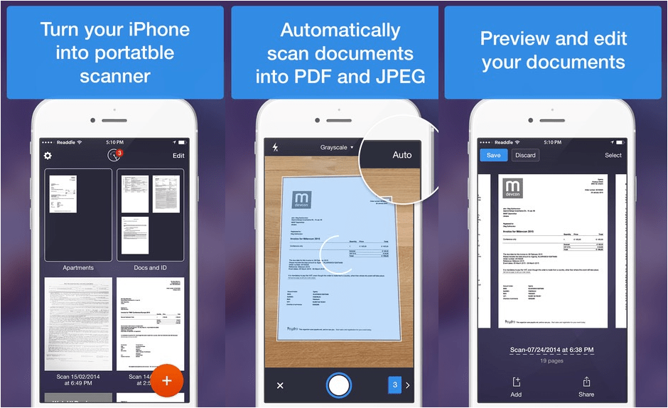 Scanner Pro is what you need to go paperless.