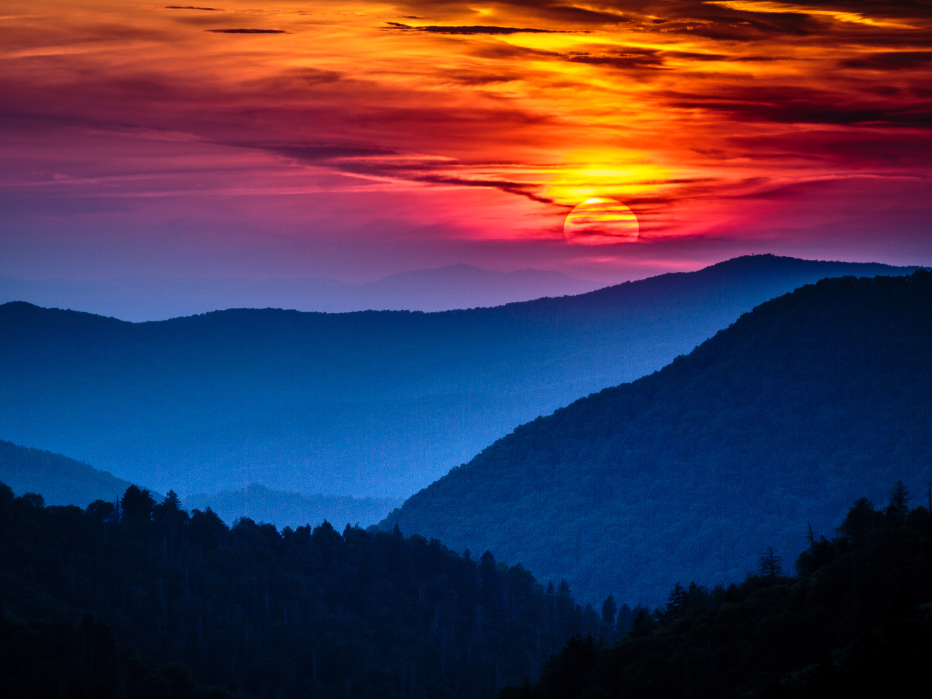 Great Smoky Mountains National Park spans North Carolina and Tennessee and includes forests renowned for their diversity of plant and animal life. The marvelous views of its mountains are becoming increasingly clouded in smog due to high levels of sulfur dioxide from the area's coal-fired power plants.