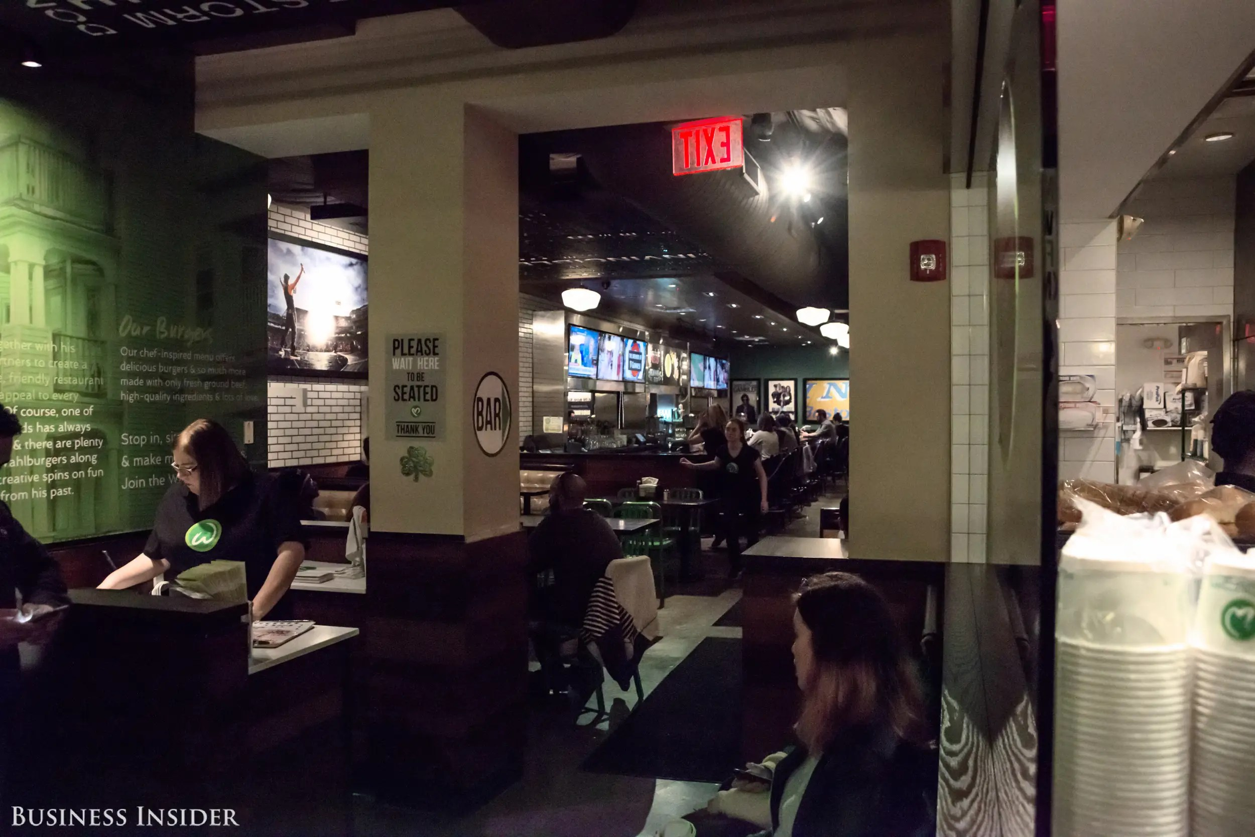 This location has a quick-service area, and a sit down, full-service section and bar seen here.