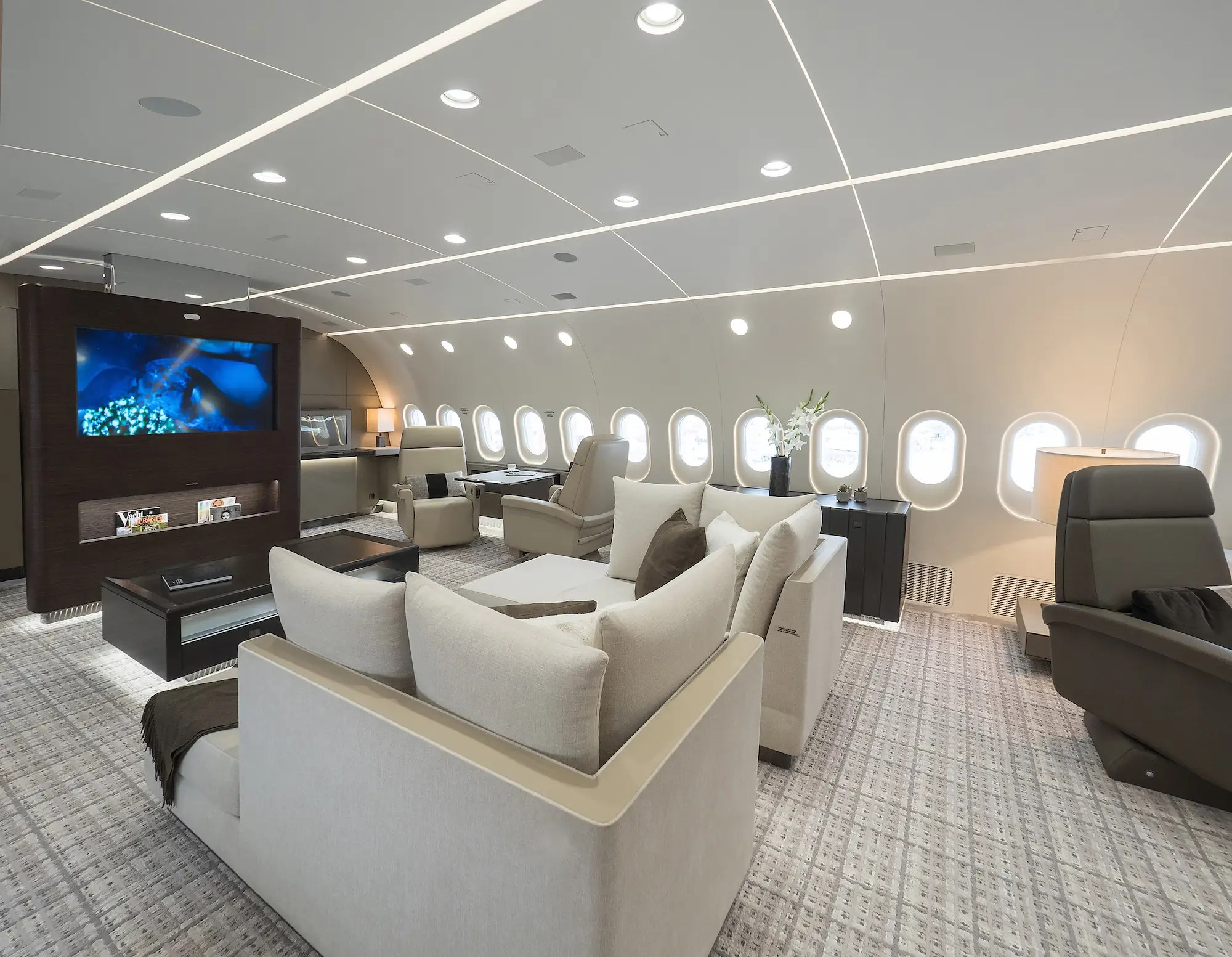 Looking towards the front of the plane, the lounge features a pair of day beds positioned in front of a large 55-inch flatscreen display. On each side of the center screen, there are individual seats each equipped with a 24-inch screen.