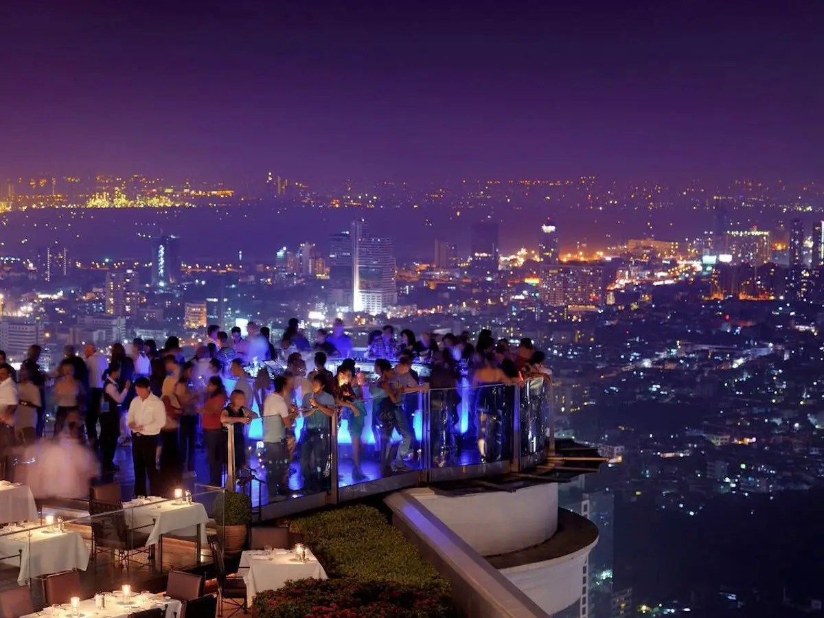 "Bangkok's Sky Bar will have you feeling drunk without a drop to drink, as it sits on the Lebua Hotel's 63rd floor — 820 feet in the sky. The trippy LED-lit bar changes color every few minutes, has some of the most incredible views of the city, and was prominently featured in ""The Hangover Part II."""
