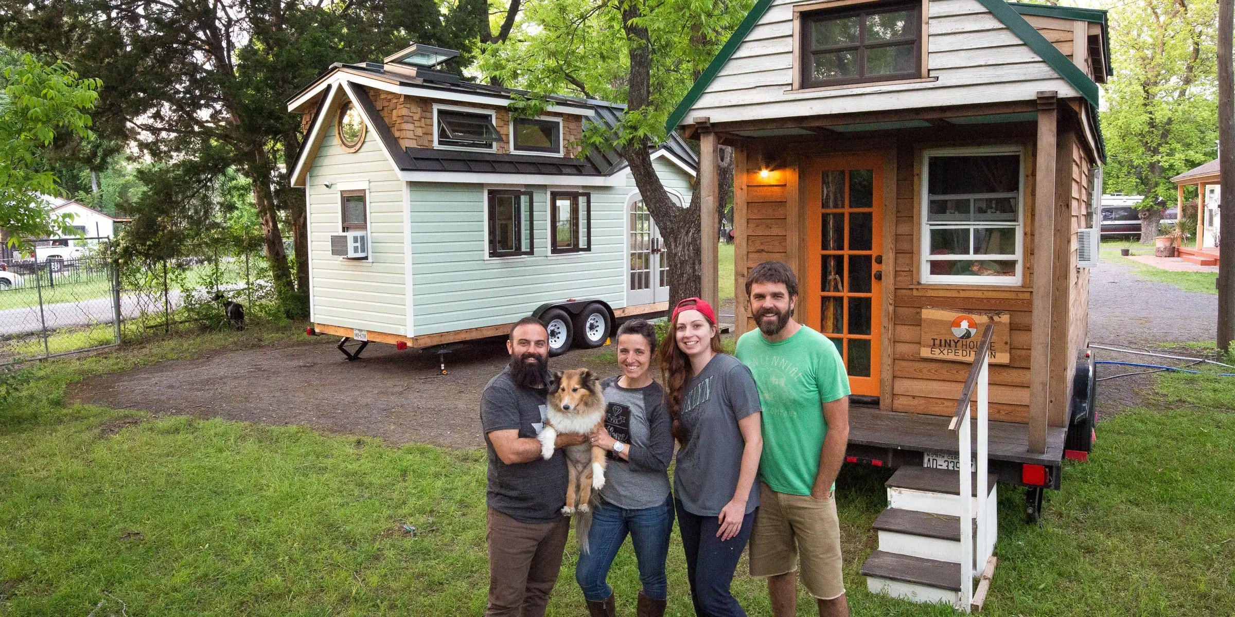 They've already towed their tiny home through 16 states. The couple saves money on campsites by parking alongside their film subjects.