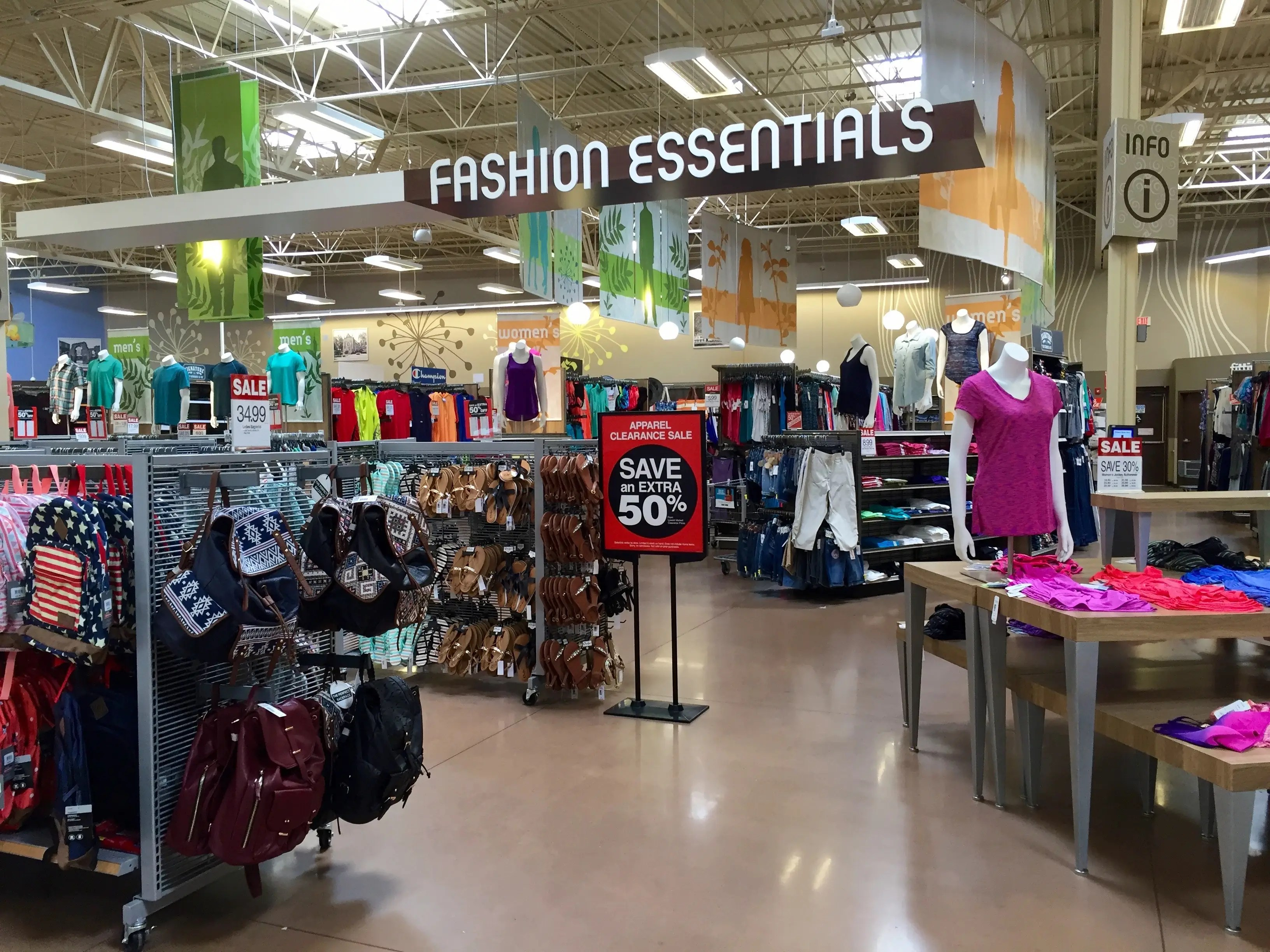 The fashion department offers clothes and accessories. It's nearly the same size as the produce department.