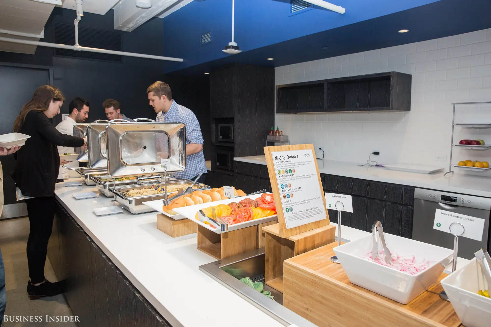 Next we headed to the kitchen. LinkedIn employees enjoy free, catered breakfasts and lunches every day. The company also offers spontaneous treats, like pop-up poke bars and cookie decorating stations.