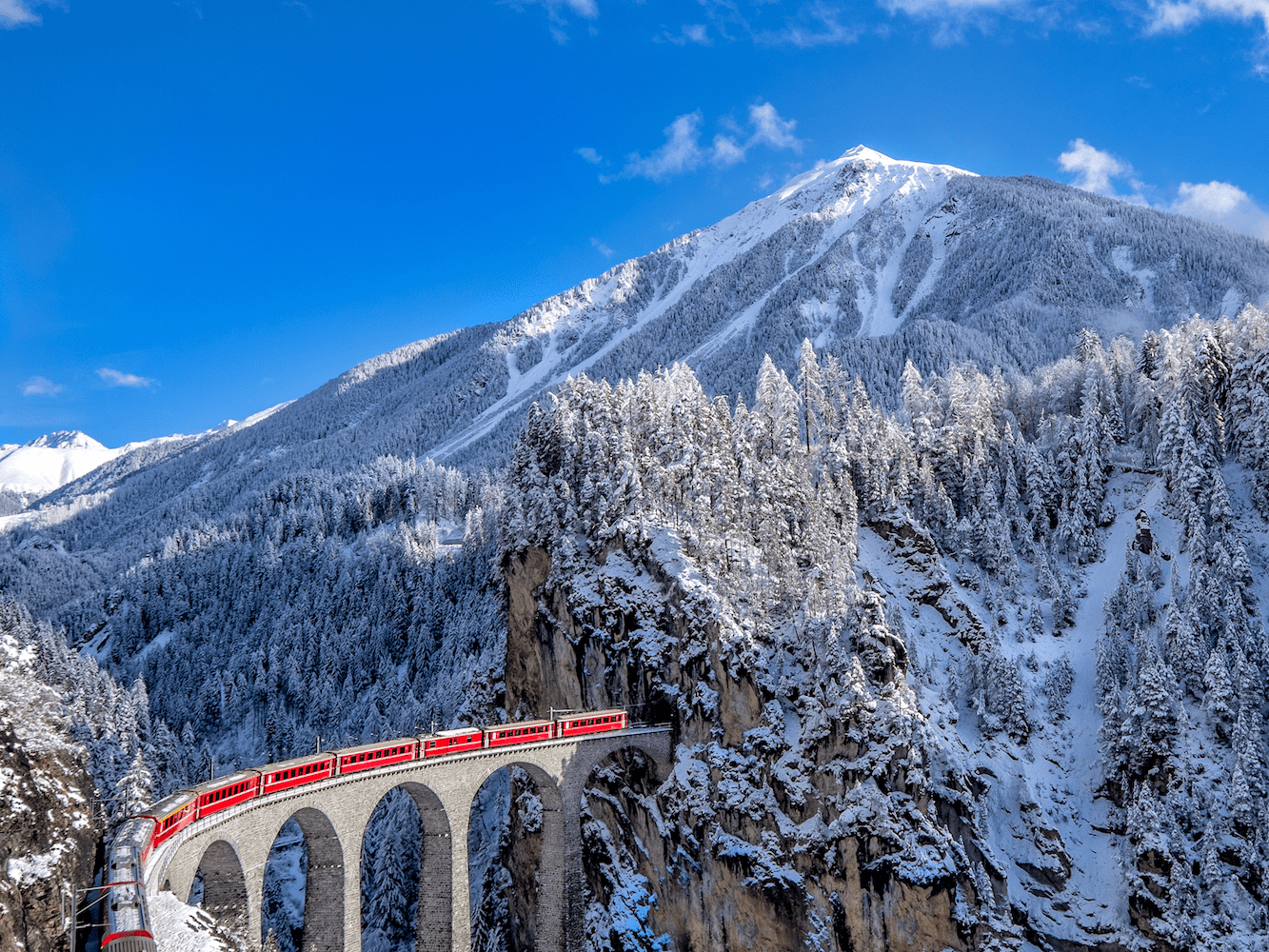 From Zermatt, visitors can take a scenic ride on the glacier express to another popular ski resort, St. Moritz.