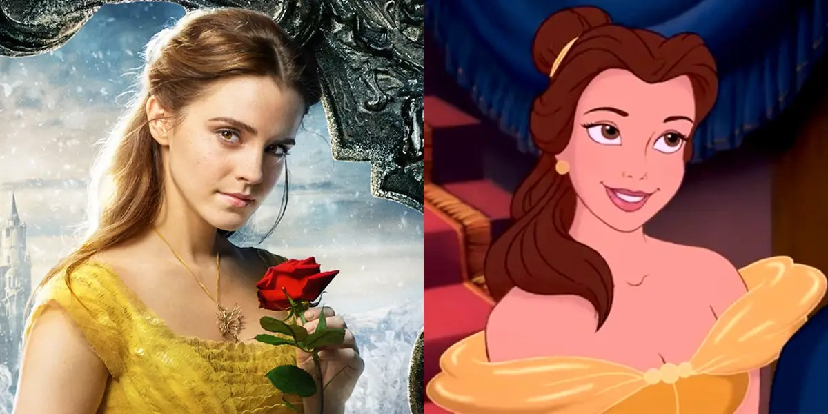Image result for beauty and the beast 2017 belle comparison