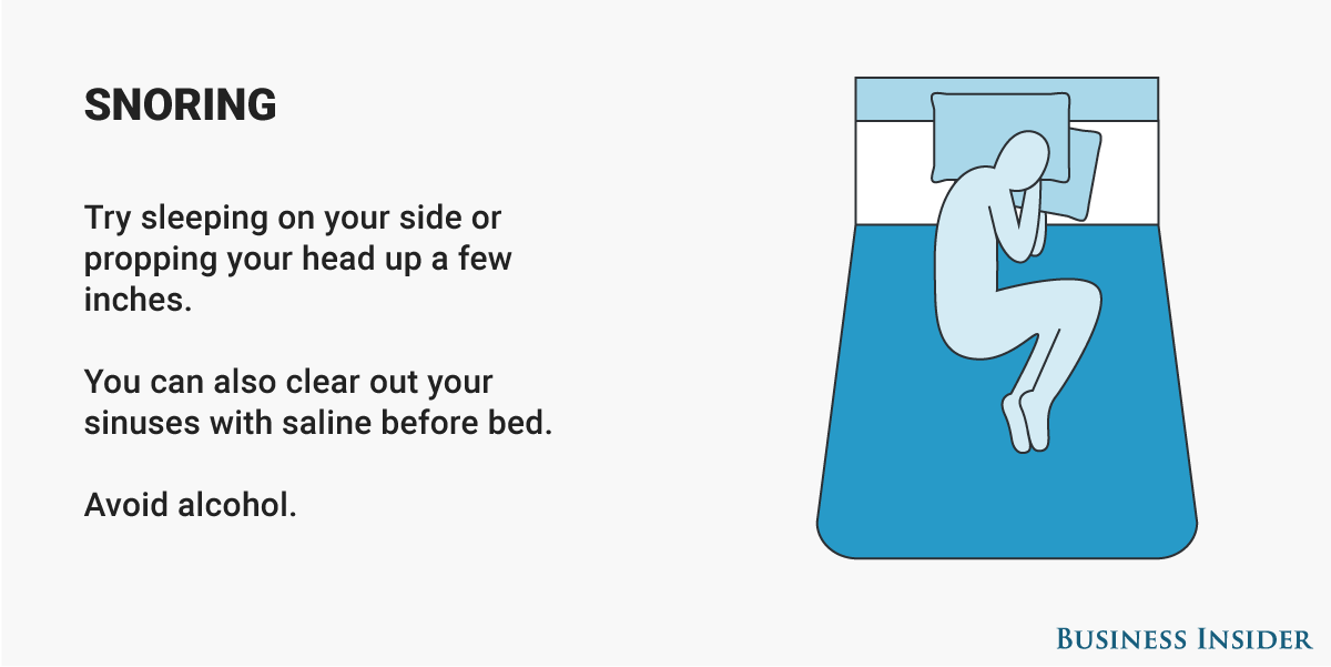 Whether you or your partner are noisy, there are interventions you can try to prevent snoring. If you're the snorer, start by avoiding sleeping on your back.