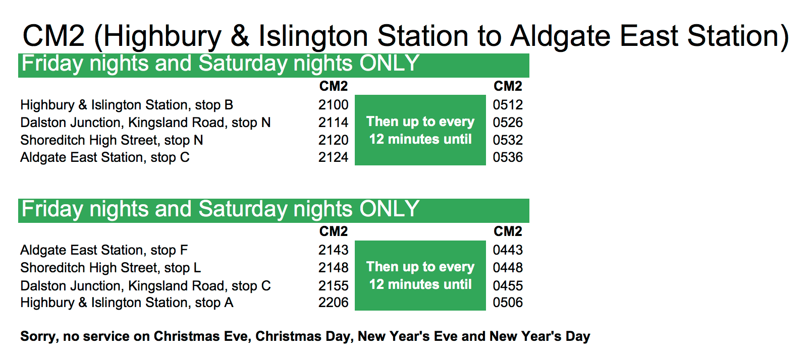 citymapper timetable cm2 proposal