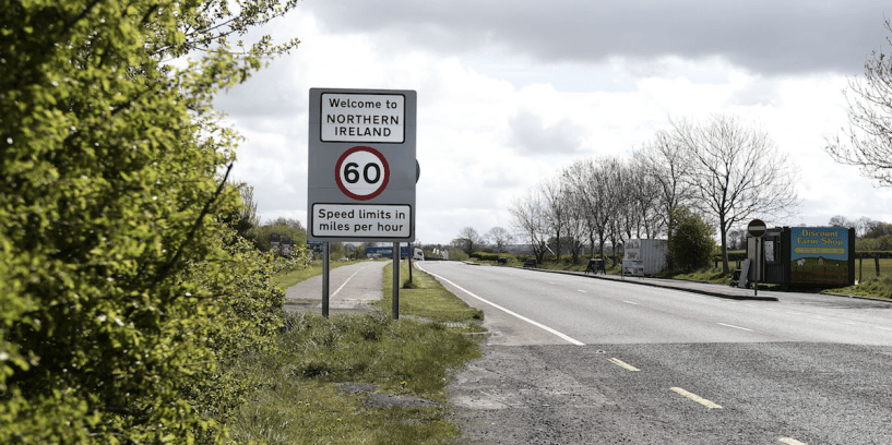A welcome to Northern Ireland road sign signalling the crossing of the border between north and south can be seen on May 4, 2016 in Ireland. The United Kingdom has just one external land border which is located between Northern Ireland and the Republic of Ireland. At present there are no checkpoints in place for anyone crossing this border, either by foot or vehicle.