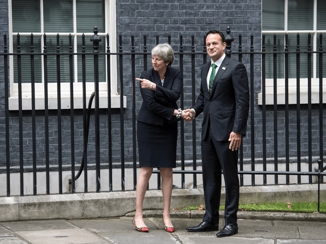 Britain's Prime Minister, Theresa May, greets Ireland's Taoiseach, Leo Varadkar, as he arrives in Downing Street on September 25, 2017 in London, England.