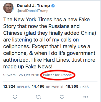 Trump's tweet claiming he 'only uses government phones ...