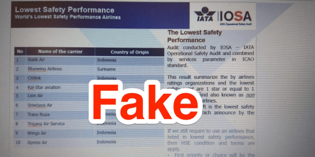 Fake safety rating Lion Air