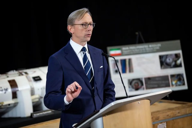 Brian Hook, U.S. Special Representative for Iran, speaks about potential threats posed by the Iranian regime to the international community, during a news conference at a military base in Washington, U.S., November 29, 2018.