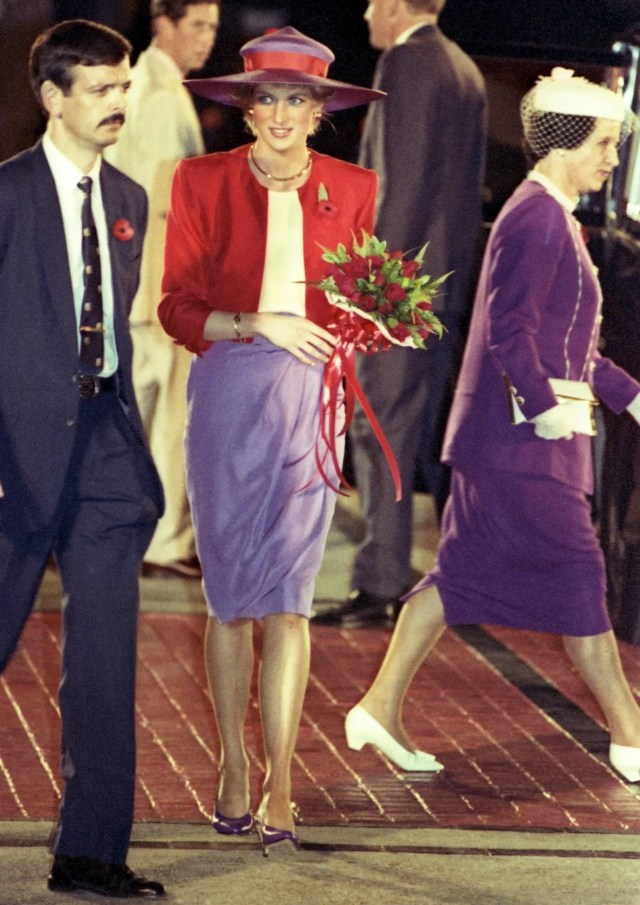 princess diana red and purple outfit