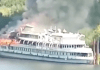 A cruise ship appears to have caught fire in Russia