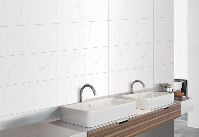 Gạch giả vân đá marble trắng được dùng để ốp tường phòng tắm