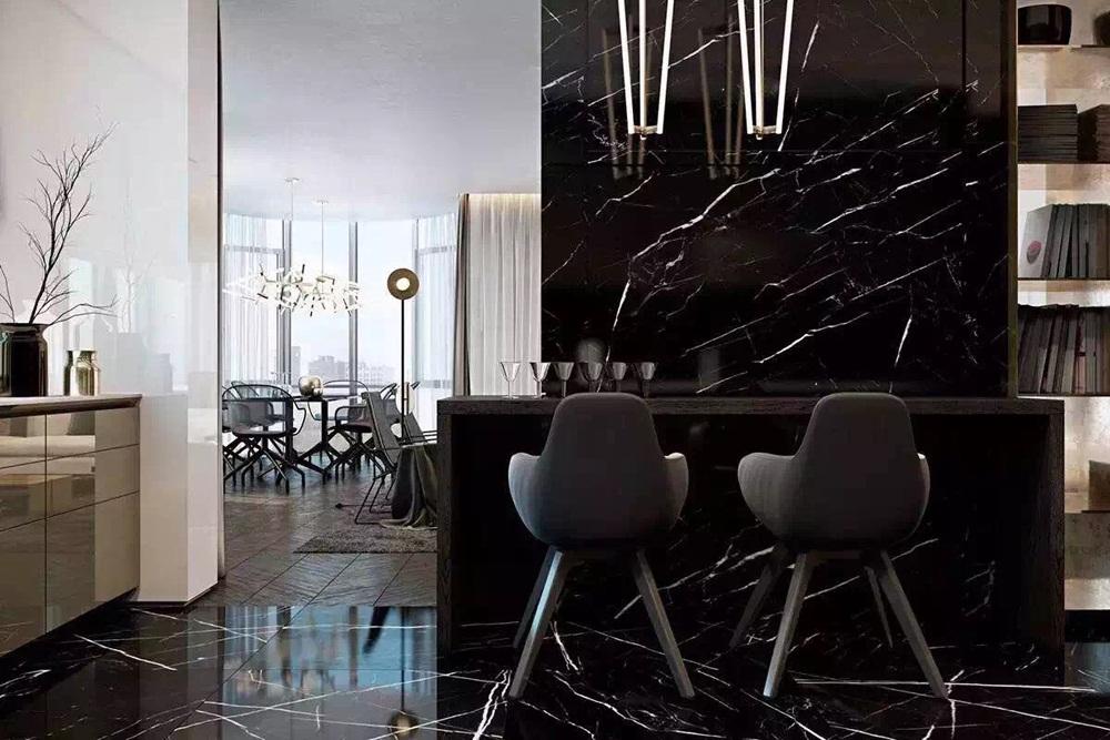 Gạch giả vân đá marble đen lát sàn khu vực bếp