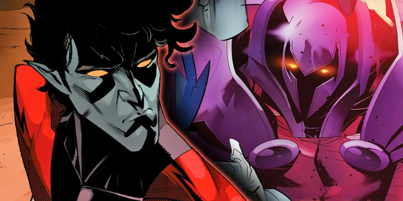 Nightcrawler looks up as Onslaught looks at him.