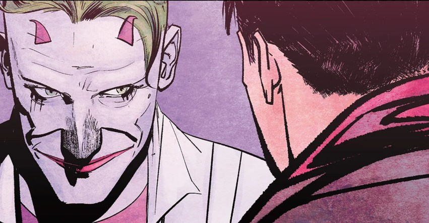 Joker gets up close and personal with Jason Todd, who see from the back of the head.