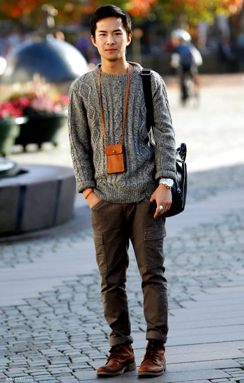 Cuong Le sweater and cargo pants